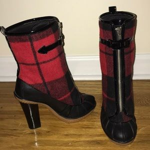 Michael Kors plaid heeled snow/rain boots😍